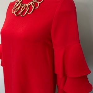 Bright red tiered sleeve mini dress
